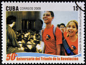 CUBA - CIRCA 2009: A stamp printed in cuba dedicated to 50 anniversary of the triumph of the revolution, shows creation of the Union of Young Communists, circa 2009 — Stock Photo
