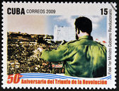 CUBA - CIRCA 2009: A stamp printed in cuba dedicated to 50 anniversary of the triumph of the revolution, shows Fidel, Prime Minister of the Revolutionary Government, circa 2009 — Stock Photo