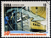 CUBA - CIRCA 2009: A stamp printed in cuba dedicated to 50 anniversary of the triumph of the revolution, shows advent of radio to all Cuba, circa 2009 — Stock Photo