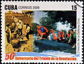 CUBA - CIRCA 2009: A stamp printed in cuba dedicated to 50 anniversary of the triumph of the revolution, shows creation of the Civil Defense, circa 2009 — Stock Photo