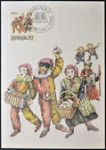 LIECHTENSTEIN - CIRCA 1983: A stamp printed in Liechtenstein dedicated to Shrovetide and Lenten customs shows Fasnacht (carnival), circa 1983 — Stock Photo