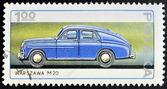 POLAND - CIRCA 1982: A stamp printed in Poland shows passenger car Warszawa M20, circa 1982 — Foto de Stock