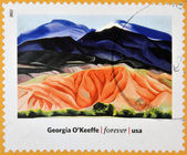 UNITED STATES OF AMERICA - CIRCA 2013: A stamp printed in USA dedicated to modern art in america shows Black Mesa Landscape, New Mexico by Georgia O'Keeffe, circa 2013 — Stock Photo