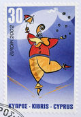 CYPRUS - CIRCA 2002: A stamp printed in Cyprus dedicated to circus, circa 2002 — Stok fotoğraf