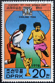 "KOREA - CIRCA 1978: A Stamp printed in North Korea shows the Soccer players, Cup and Glob with the inscription ""England, 1966"", from the series ""History of World Cup Football Championship"" — Foto Stock"