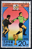 "KOREA - CIRCA 1978: A Stamp printed in North Korea shows the Soccer players, Cup and Glob with the inscription ""Sweden, 1958"", from the series ""History of World Cup Football Championship"", circa 1978 — Foto Stock"