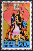 "KOREA - CIRCA 1978: A Stamp printed in North Korea shows the Soccer players, Cup and Glob with the inscription ""Italy, 1934"", from the series ""History of World Cup Football Championship"", circa 1978 — Foto Stock"