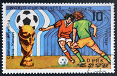 NORTH KOREA - CIRCA 1978: a stamp printed in North Korea shows football players, World football cup in Argentina, circa 1978 — Zdjęcie stockowe