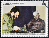CUBA - CIRCA 2010: A stamp printed in Cuba shows Fidel Castro and President of India, Rajendra Prasad, circa 2010 — Zdjęcie stockowe