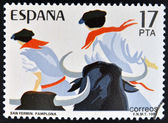 SPAIN - CIRCA 1984: stamp printed in Spain shows Sanfermines in Pamplona, circa 1984 — Stock Photo