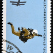 GERMANY - CIRCA 1966: A stamp printed in East Germany shows parachutist, circa 1966 — Stock Photo #30507935
