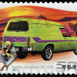 AUSTRALIA - CIRCA 2006: A stamp printed in Australia shows Holden Sandman HX - 1976 and man with guitar, circa 2006 — Stock Photo
