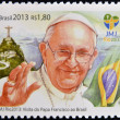 Stock Photo: BRAZIL - CIRC2013: stamp printed in Brazil commemorative of pope Francis I visit to World Youth Day 2013 held in Rio de Janeiro, circ2013.