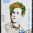 DJIBOUTI - CIRCA 1985: stamp printed in Djibouti shows Arthur Rimbaud, circa 1985  — Stock Photo