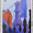 GUINEA - CIRCA 1998: a stamp printed in Republic of Guinea commemorates the Frenchman Alexandre Alekhine is the world chess champion, circa 1998. — Stock Photo