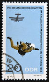 GERMANY - CIRCA 1966: A stamp printed in East Germany shows parachutist, circa 1966 — 图库照片