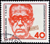 GERMANY - CIRCA 1973: a stamp printed in Germany shows Maximilian Kolbe, Polish Priest who Died in Auschwitz and was Beatified in 1971, circa 1973 — Stock Photo