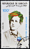 DJIBOUTI - CIRCA 1985: stamp printed in Djibouti shows Arthur Rimbaud, circa 1985 — Stock Photo