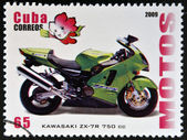 CUBA - CIRCA 2009: A stamp printed in Cuba dedicated to the motorbikes, shows Kawasaki ZX - 7R 750 cc, circa 2009 — Foto Stock