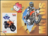 куба - около 2009: штампа, печати на кубе, посвященная мотоциклов, показывает hyosung gt 125, около 2009 — Стоковое фото