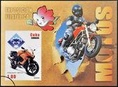 CUBA - CIRCA 2009: A stamp printed in Cuba dedicated to the motorbikes, shows Hyosung Gt 125, circa 2009 — Stok fotoğraf
