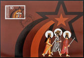 LIECHTENSTEIN - CIRCA 1983: A stamp printed in Liechtenstein shows The three magi, christmas, circa 1983 — Stock Photo