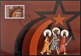 LIECHTENSTEIN - CIRCA 1983: A stamp printed in Liechtenstein shows The three magi, christmas, circa 1983 — Stock Photo