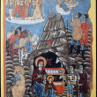 CYPRUS - CIRCA 2004: A stamp printed in Cyprus shows portable icon of the Nativity, at the Chrysorroiatissa Monastery in Paphos, painted by Parthenios, circa 2004 — Stock Photo