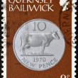 GUERNSEY - CIRCA 1979: A stamp printed in Guernsey shows Ten New Pence, 1970, circa 1979 — Stock Photo