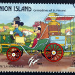 ST. VINCENT GRENADINES -UNION ISLAND - CIRCA 1989: A stamp printed in St. Vincent shows Mickey Mouse and Minnie Mouse, 1878 La Mancelle, circa 1989 — Stock Photo