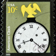 UNITED STATES OF AMERICA - CIRCA 2003:A stamp printed in USA shows image of The term American clock, circa 2003. — Stock Photo