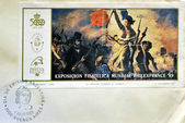 ARGENTINA - CIRCA 1989: A stamp printed in Argentina shows the Liberty Leading the People, painting by Eugene Delacroix, circa 1989 — Stock Photo