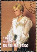 BURKINA FASO - CIRCA 1997: A stamp printed in Burkina Faso shows Diana of Gales, circa 1997 — Stock Photo