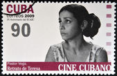CUBA - CIRCA 2009: A stamp printed in Cuba dedicated to Cuban cinema, shows Pastor Vega in Portrait of Teresa, circa 2009 — Photo