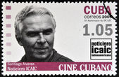 CUBA - CIRCA 2009: A stamp printed in Cuba dedicated to Cuban cinema, shows Santiago Alvarez, director of Latin American ICAIC, circa 2009 — Foto de Stock