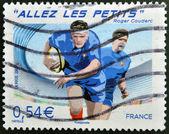 Francia - circa 2007: un sello impreso en francia dedicada a la copa mundial de rugby, circa 2007 — Foto de Stock