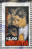 Mordvinské - cca 1998: razítko v mordvinské ukazuje, princezna z walesu, diana, cca 1998 — Stock fotografie