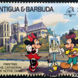 ANTIGUA AND BARBUDA - CIRCA 1989: Stamp printed in Antigua dedicated to international philatelic exhibition in France, shows painting the cathedral of Notre Dame, circa 1989  — Stock Photo
