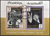 Fujeria - около 1966: марки, напечатаны в фуджейра показывает образ сэр уинстон черчиль, 1874-1965, около 1966 — Стоковое фото