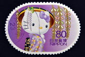 JAPAN - CIRCA 2011: A stamp printed in Japan shows Hello Kitty, circa 2011 — Stok fotoğraf