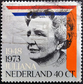 HOLLAND - CIRCA 1973: A stamp printed in the Netherlands for the silver jubilee of the reign of Queen Juliana, circa 1973 — Стоковое фото