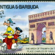 ANTIGUAND BARBUD- CIRC1989: Stamp printed in Antigudedicated to international philatelic exhibition in France, shows arch of triumph on place Charles de Gaulle, circ1989 — Stock Photo #31358715