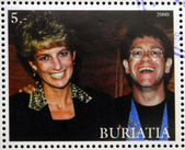 BURYATIA - CIRCA 2000: A stamp printed in Buryatia shows Diana of Gales and Elton John, circa 2000 — Foto de Stock