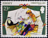 JERSEY - CIRCA 1995: A stamp printed in Jersey shows Scene from the fairy tale Cinderella, circa 1965 — Stock Photo