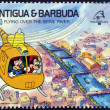 ANTIGUA AND BARBUDA - CIRCA 1989: Stamp printed in Antigua dedicated to international philatelic exhibition in France, shows flying over the seine river, circa 1989  — Stock Photo