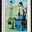 GUINEA - CIRCA 1981: A stamp printed in Republic of Guinea Bissau shows Acrobat on a Ball by Pablo Picasso, circa 1981 — Foto de Stock