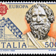 ITALY - CIRCA 1983: stamp printed in Italy shows Archimedes and his screw, circa 1983  — Stock Photo