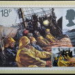 UNITED KINGDOM - CIRCA 1981: A  stamp printed in Great Britain celebrating the Fishing Industry showing a Trawl Net being Hauled, circa 1981 — Stock Photo