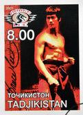 Tadżykistan - około 2001: znaczek wydrukowany w Tadżykistanie Wyświetlono Bruce'a lee, około 2001 — Zdjęcie stockowe