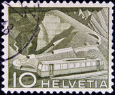 SWITZERLAND - CIRCA 1949: A stamp printed in Switzerland, shows Mountain Railway, circa 1949 — Stock Photo